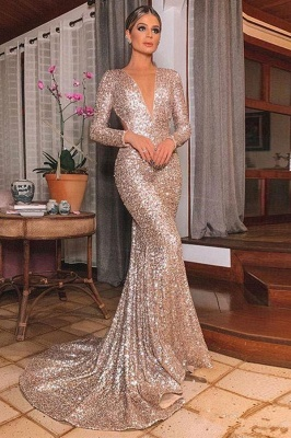 Sparkly Long Sleeve Sequin Mermaid Prom Dresses | V Neck Backless Fitted Evening Gown_1