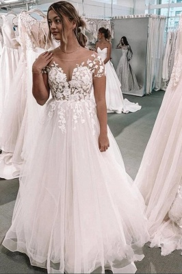 Gorgeous Long A-line Tulle Lace Backless Wedding Dress with Sleeves
