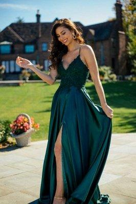 Unique Long A-line Satin Sleeveless Side Slit V-neck Prom Dress