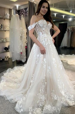 Beautiful Long A-line Off-the-shoulder Tulle Wedding Dress with Lace Appliques