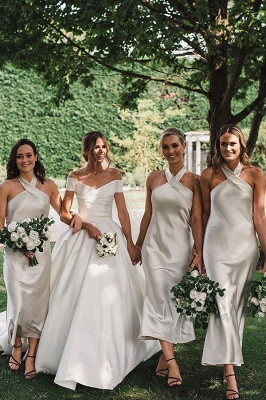 Halter Tea Length Sheath Bridesmaid Dresses | Party Dresses For Wedding