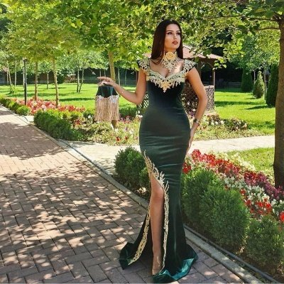 Long Dark Green Mermaid Formal Evening Dresses with Gold Lace appliques_2