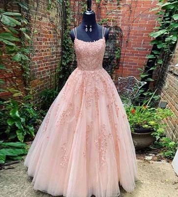 Elegant Spaghetti Strap Strapless Backless Applique Lace A Line Prom Dresses | Sleeveless Evening Dresses_3