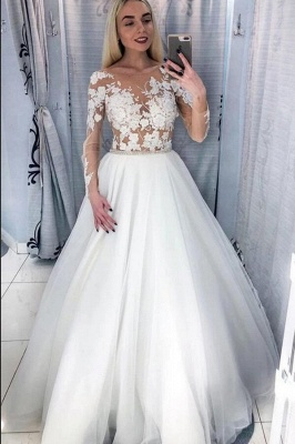 Modest A-line Tulle Floor-length Long Sleeves Wedding Dress with Appliques Lace