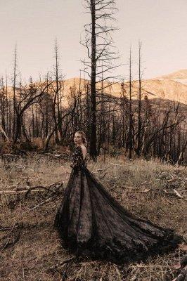Glamorous V Neck Black Lace Wedding Dresses With Long Sleeves_4