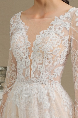 Graceful Long Sleeves Tulle V Neck Wedding Dresses With Lace Appliques_14