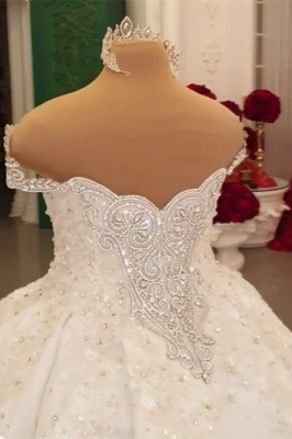 Luxury Ball Gown Wedding Dress Appliques Rhinestones Sleeveless Sweetheart Bridal Gowns Online_2