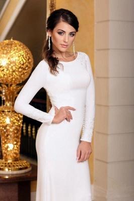 Elegant Sleek White Lace Mermaid Prom Dresses With Long Sleeves_4