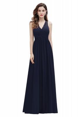 V-Neck A-line Chiffon Evening Maxi Dress Sleeveless Bridesmaid Wedding Guest Dress_3