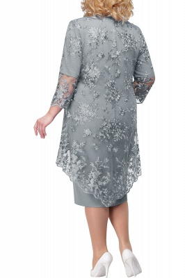 Tulle Lace 3/4 Sleeves Knee Length Mother of Bride Dress_10