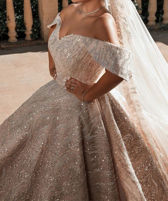 Gorgeous Satin Nude Pink Sequins Ball Gown Wedding Dresses With Long Sleeves_2