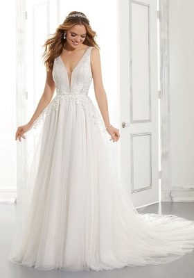 Elegant Sleeveless Tulle Satin A-Line Wedding Dresses With Lace Appliques_4