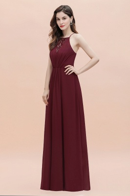 Straps Bateau A-line Sequins Evening Maxi Dress Elegant Chiffon Prom Dress_9