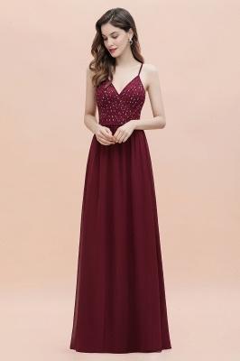 V-Neck Straps A-line Bridesmaid Dress Sequins Evening Dress_6
