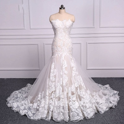 Unique Lace Mermaid Backless Floral Tulle Wedding Dresses_2