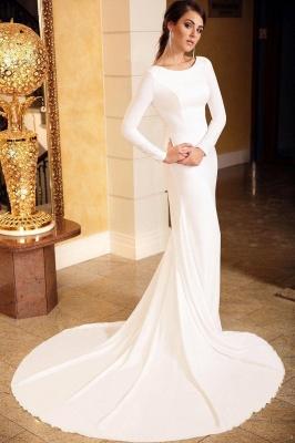 Elegant Sleek White Lace Mermaid Prom Dresses With Long Sleeves_1