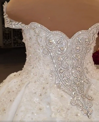 Luxury Ball Gown Wedding Dress Appliques Rhinestones Sleeveless Sweetheart Bridal Gowns Online_5