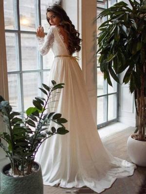 Yesbabyonline Glamorous A-Line Chiffon Long Sleeves Ruffles Wedding Dress_2