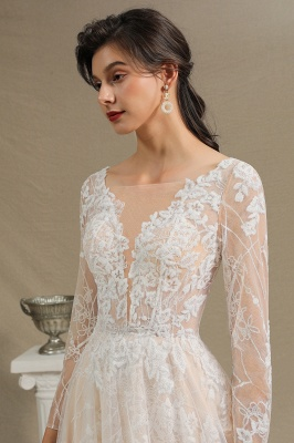 Graceful Long Sleeves Tulle V Neck Wedding Dresses With Lace Appliques_7