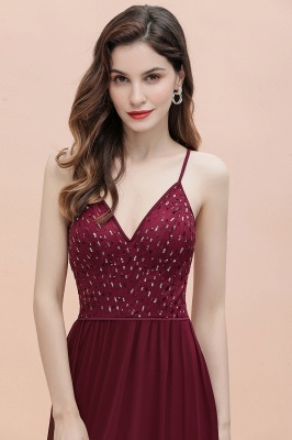V-Neck Straps A-line Bridesmaid Dress Sequins Evening Dress_11
