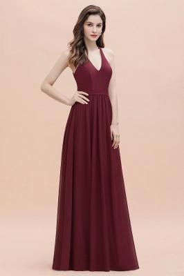 Burgundy Sleeveless V-neck Beaded Back Chiffon Bridesmaid Dress_6