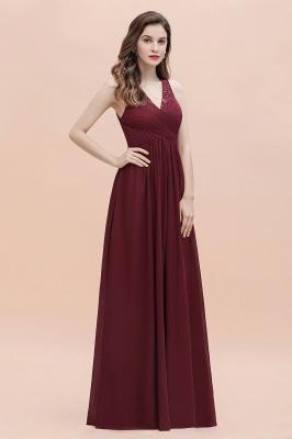 V-Neck A-line Chiffon Evening Maxi Dress Sleeveless Bridesmaid Wedding Guest Dress_9