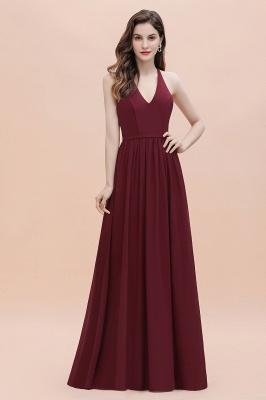 Burgundy Sleeveless V-neck Beaded Back Chiffon Bridesmaid Dress_1