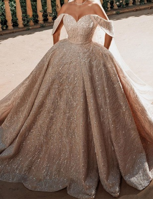 Gorgeous Satin Nude Pink Sequins Ball Gown Wedding Dresses With Long Sleeves_1