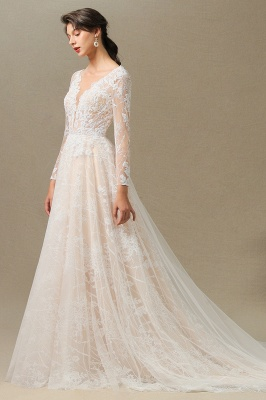 Graceful Long Sleeves Tulle V Neck Wedding Dresses With Lace Appliques_11
