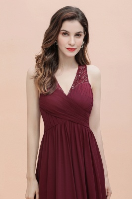 V-Neck A-line Chiffon Evening Maxi Dress Sleeveless Bridesmaid Wedding Guest Dress_10