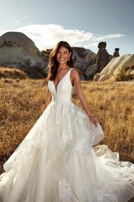 Sexy Deep-V-Neck Tulle Lace Sleeveless Long Wedding Dress_3