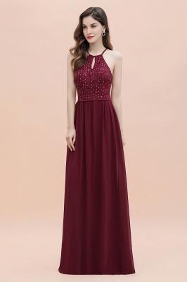 Halter Sequins A-line Evening Dress Chiffon Elegant Party Maxi Dress_7
