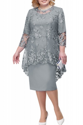 Tulle Lace 3/4 Sleeves Knee Length Mother of Bride Dress_5