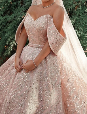 Gorgeous Satin Nude Pink Sequins Ball Gown Wedding Dresses With Long Sleeves_5
