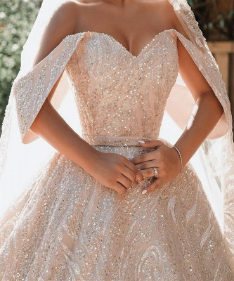 Gorgeous Satin Nude Pink Sequins Ball Gown Wedding Dresses With Long Sleeves_4