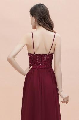 V-Neck Straps A-line Bridesmaid Dress Sequins Evening Dress_10