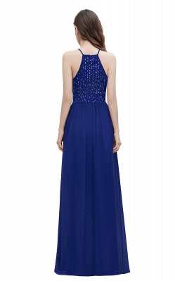 Halter Sequins A-line Evening Dress Chiffon Elegant Party Maxi Dress_11
