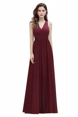 V-Neck A-line Chiffon Evening Maxi Dress Sleeveless Bridesmaid Wedding Guest Dress_1