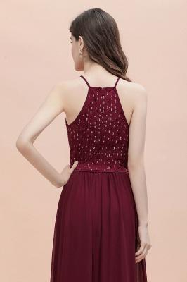 Halter Sequins A-line Evening Dress Chiffon Elegant Party Maxi Dress_9