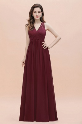 V-Neck A-line Chiffon Evening Maxi Dress Sleeveless Bridesmaid Wedding Guest Dress_8