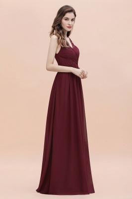 V-Neck A-line Chiffon Evening Maxi Dress Sleeveless Bridesmaid Wedding Guest Dress_6