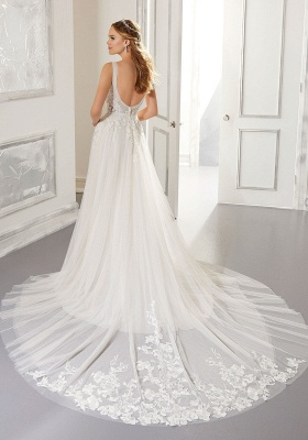 Elegant Sleeveless Tulle Satin A-Line Wedding Dresses With Lace Appliques_2