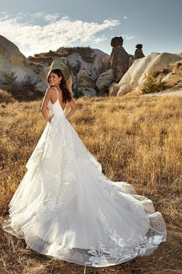 Sexy Deep-V-Neck Tulle Lace Sleeveless Long Wedding Dress_2