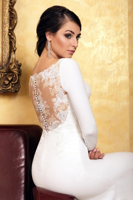 Elegant Sleek White Lace Mermaid Prom Dresses With Long Sleeves_2