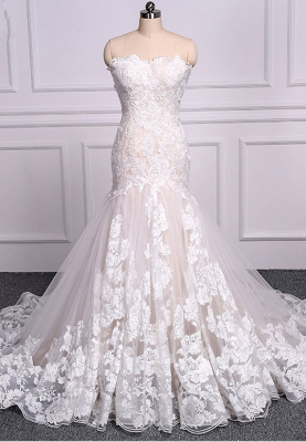 Unique Lace Mermaid Backless Floral Tulle Wedding Dresses_1
