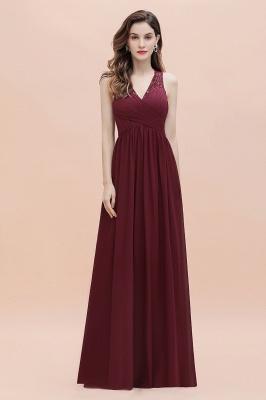 V-Neck A-line Chiffon Evening Maxi Dress Sleeveless Bridesmaid Wedding Guest Dress_7