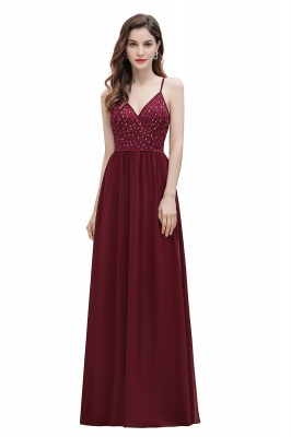 V-Neck Straps A-line Bridesmaid Dress Sequins Evening Dress_1