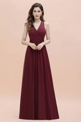 V-Neck A-line Chiffon Evening Maxi Dress Sleeveless Bridesmaid Wedding Guest Dress_4
