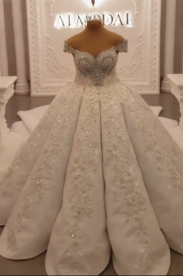 Luxury Ball Gown Wedding Dress Appliques Rhinestones Sleeveless Sweetheart Bridal Gowns Online_3