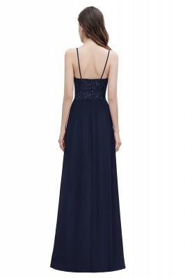V-Neck Straps A-line Bridesmaid Dress Sequins Evening Dress_13